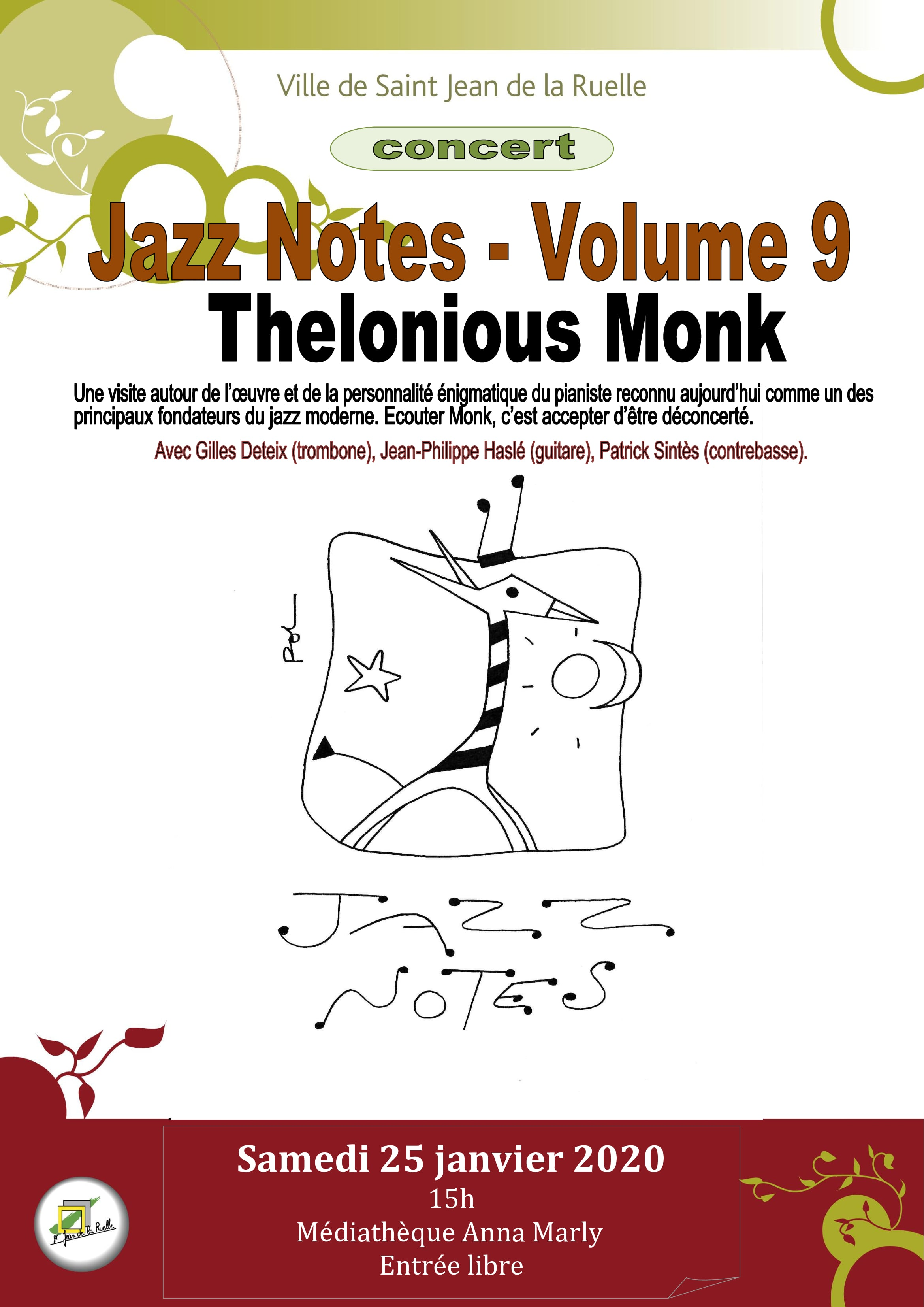 affiche jazz notes monk